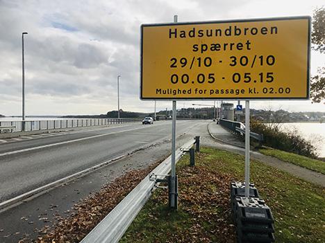 Hadsund broen spærret