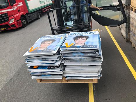 Venstre i Mariagerfjord har sendt 100 kg valgplakater til genanvendelse