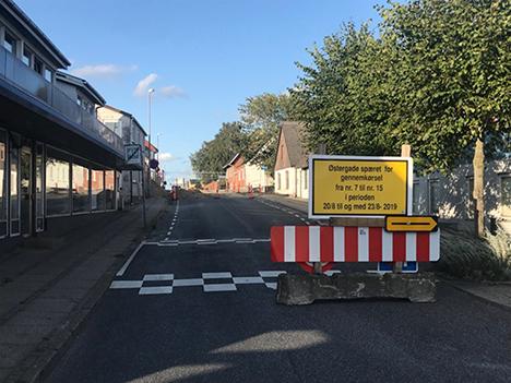 OBS vejspærring i Hadsund