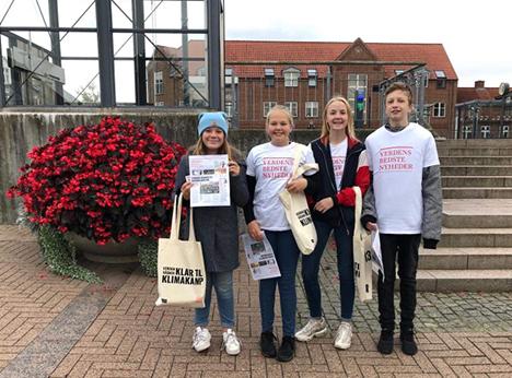 Skoleelever i Arden gik fredag morgen på gaden for at sprede klimahåb og punktere myter