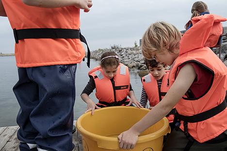 Eleverne på Gregers Krabbe Friskolen udforsker  vandets hemmeligheder