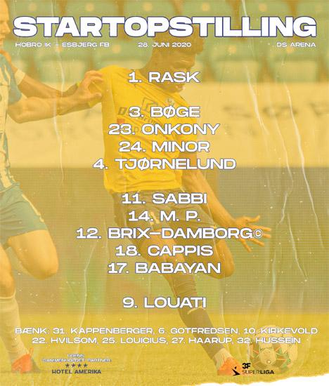 Startopstillingen mod Esbjerg fB kl. 16.00